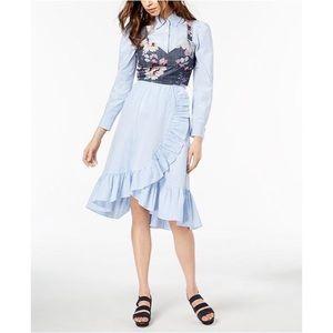 Jill Stuart Ruffled Pinstripe Skirt Blue Midi Wrap
